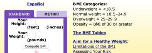BMI calculator-NIH